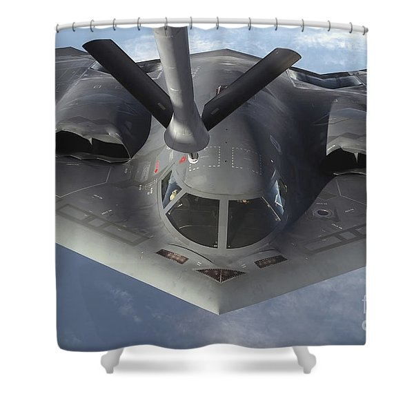 A B-2 Spirit Bomber Prepares To Refuel Shower Curtain by Stocktrek Images