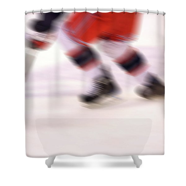 A blur of Ice Speed Shower Curtain by Karol  Livote