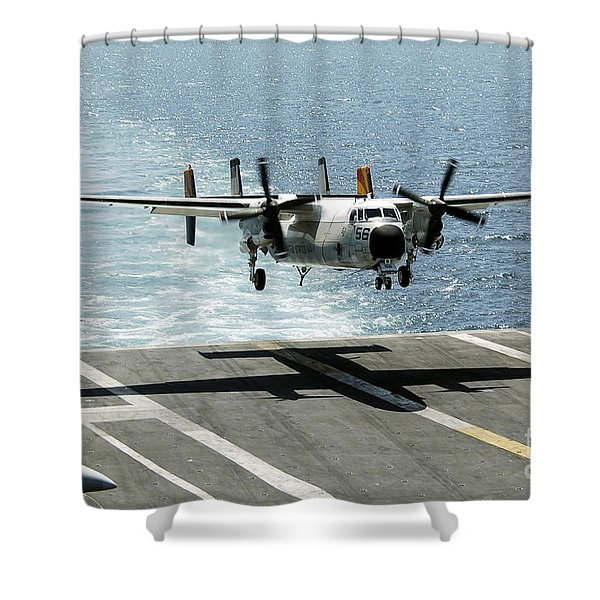 A C-2a Greyhound Prepares To Land Shower Curtain by Stocktrek Images