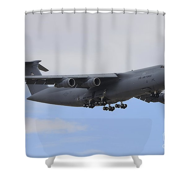A C-5 Galaxy In Flight Over Nevada Shower Curtain by Remo Guidi