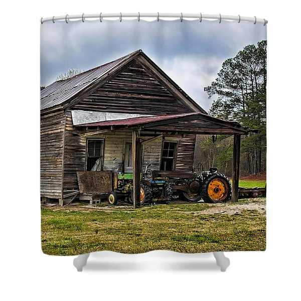 A Crooked Little Barn Shower Curtain by Christopher Holmes