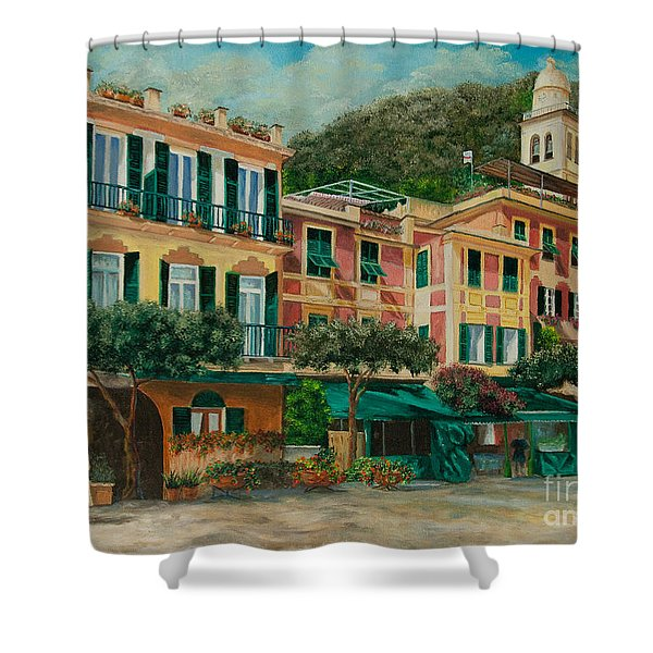 A Day in Portofino Shower Curtain by Charlotte Blanchard