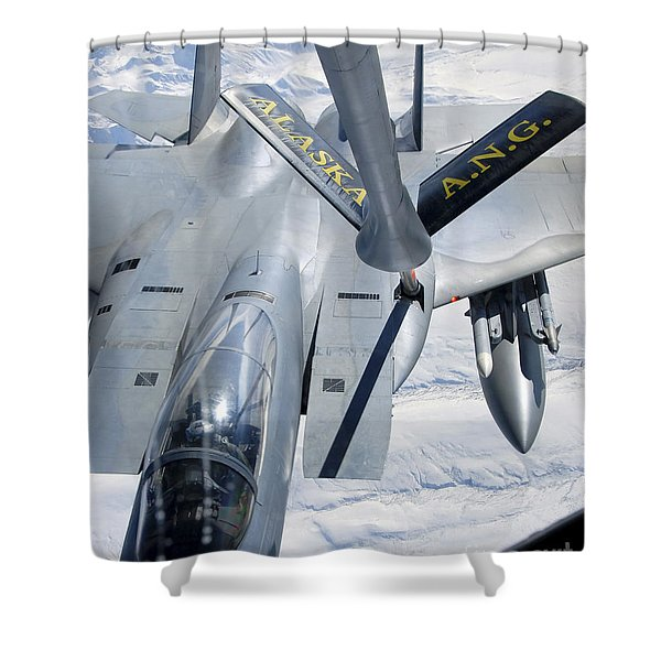 A F-15 Eagle Refuels Behind A Kc-135 Shower Curtain by Stocktrek Images