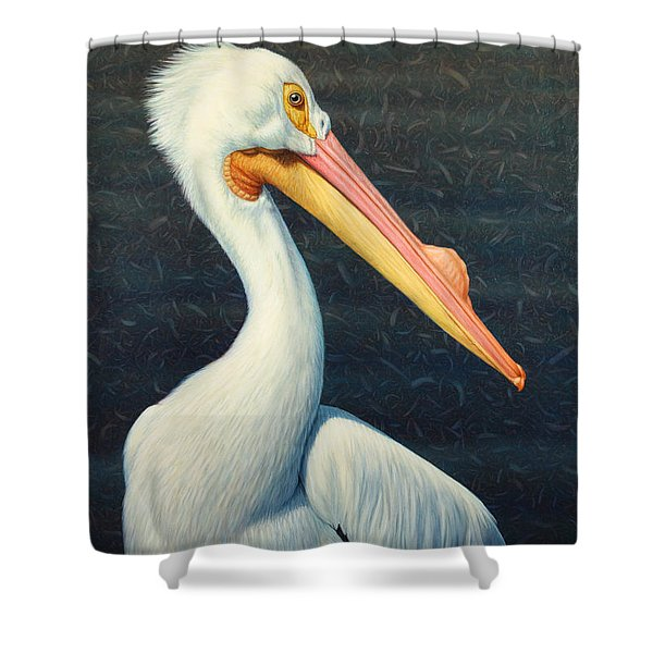 A Great White American Pelican Shower Curtain by James W Johnson
