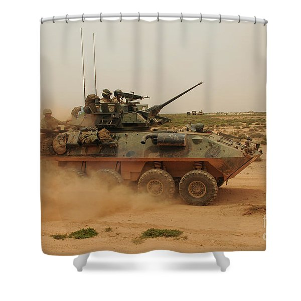 A Marine Corps Light Armored Vehicle Shower Curtain by Stocktrek Images