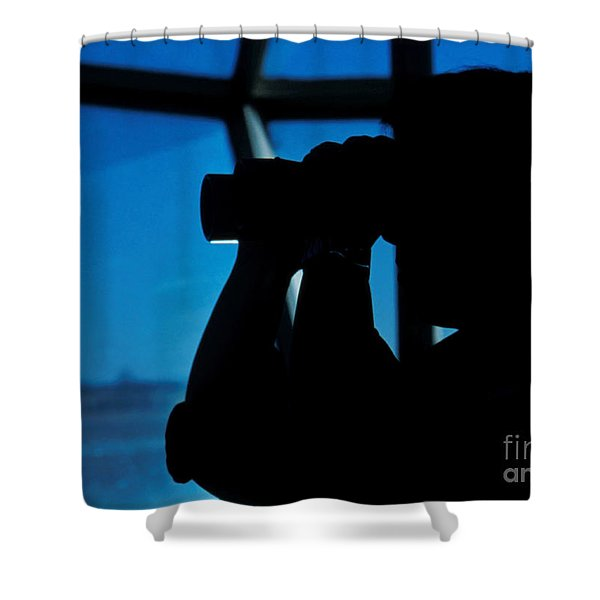 A Navy Air Traffic Controller Maintains Shower Curtain by Michael Wood