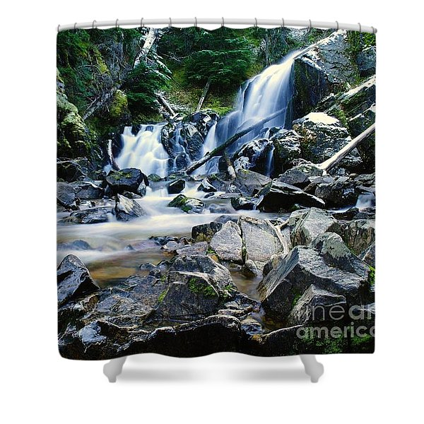 A New Way To The Waterfall Shower Curtain by Jeff  Swan