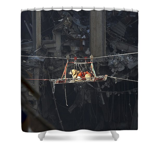 A Rescue Dog Is Transported Shower Curtain by Stocktrek Images