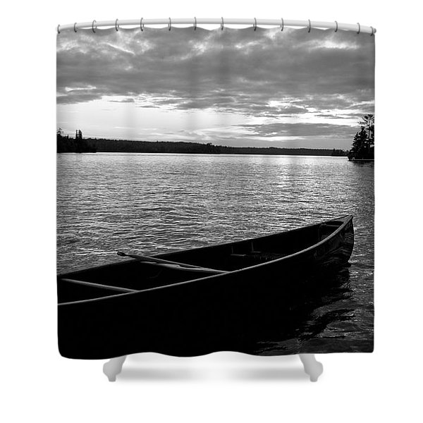 Abandoned Canoe Floating On Water Shower Curtain by Keith Levit