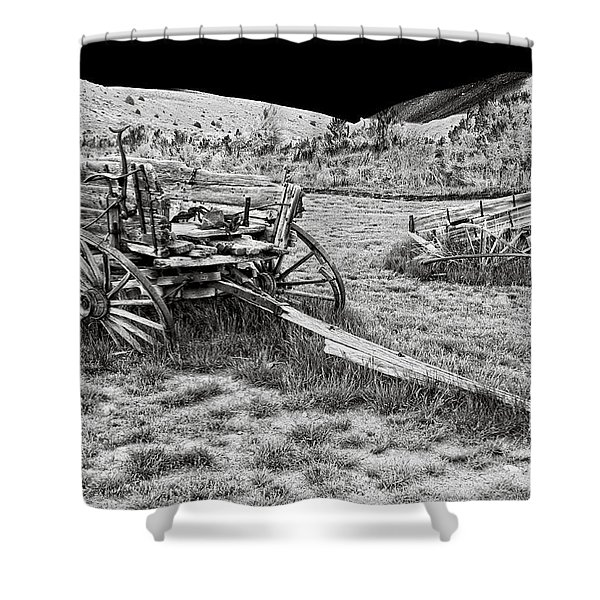 ABANDONED WAGONS of BANNACK MONTANA GHOST TOWN Shower Curtain by Daniel Hagerman