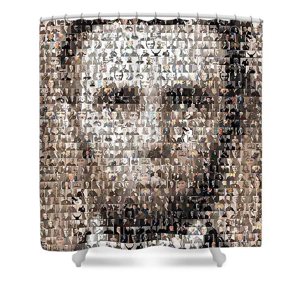 Abe Lincoln Presidents Mosaic Shower Curtain by Paul Van Scott