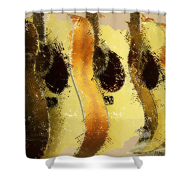 Abstract Acoustic Guitars Shower Curtain by David G Paul