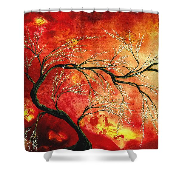 Abstract Art Floral Tree Landscape Painting FRESH BLOSSOMS by MADART Shower Curtain by Megan Duncanson