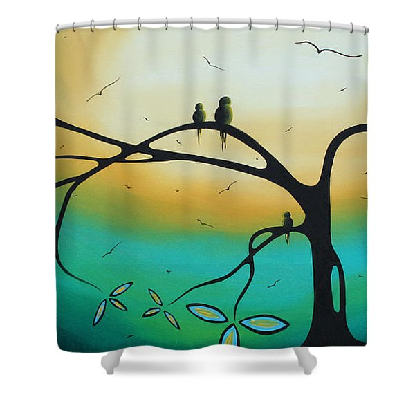 Abstract Art Landscape Bird Painting Family Perch By Madart Shower Curtain by Megan Duncanson