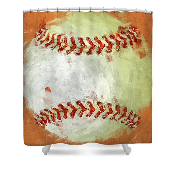Abstract Baseball Shower Curtain by David G Paul