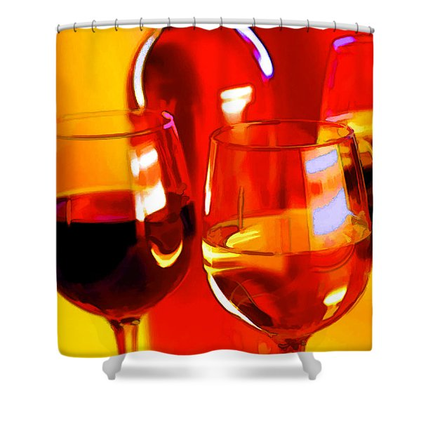 Abstract Bottle of Wine and Glasses of Red and White Shower Curtain by Elaine Plesser