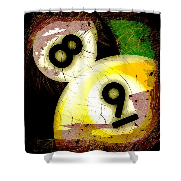Abstract Eight And Nine Billiard Balls Shower Curtain by David G Paul