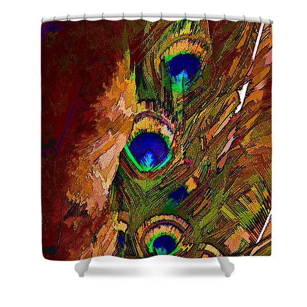 Abstract Peacock Shower Curtain by Ches Black