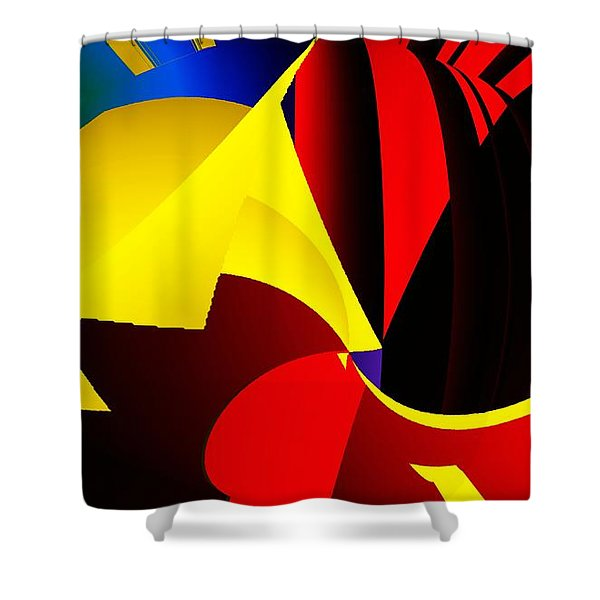 Abstract Red And Yellow Shower Curtain by David Lane