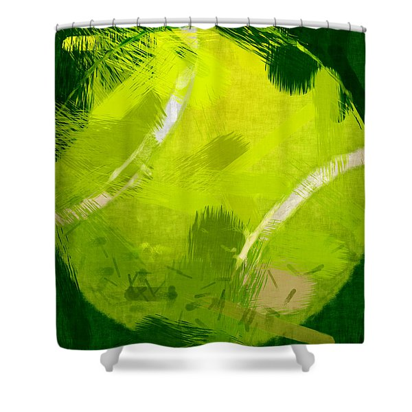 Abstract Tennis Ball Shower Curtain by David G Paul
