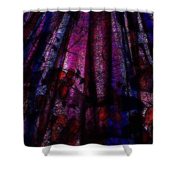 Acid Rain With Red Flowers Shower Curtain by Rachel Christine Nowicki