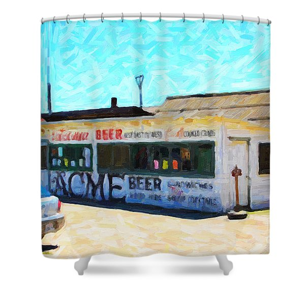 Acme Beer At The Old Lunch Shack At China Camp Shower Curtain by Wingsdomain Art and Photography