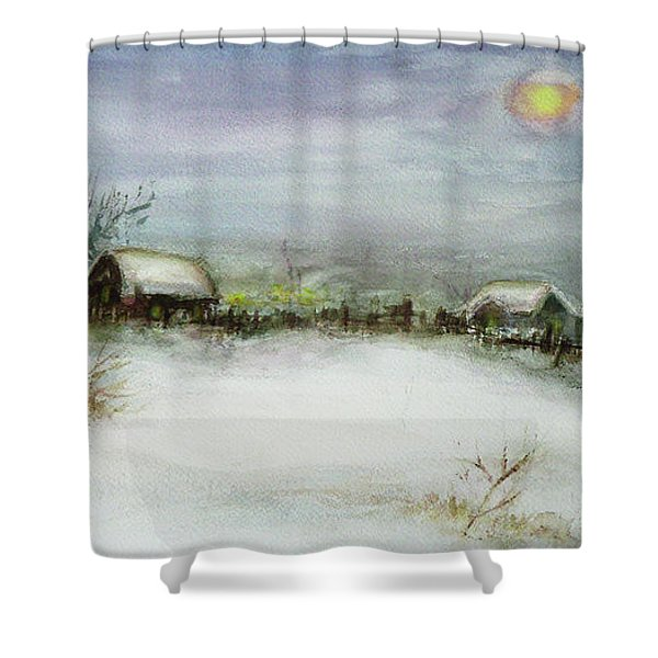 After A Heavy Fall Of Snow Shower Curtain by Xueling Zou