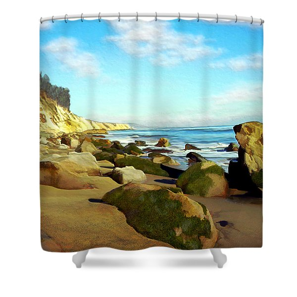 After The Fog Gaviota Shower Curtain by Kurt Van Wagner