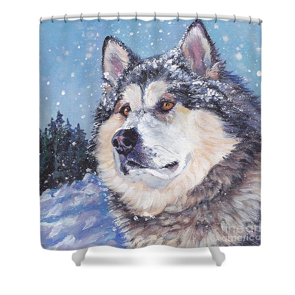 Alaskan Malamute Shower Curtain by Lee Ann Shepard