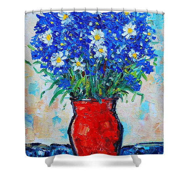 Albastrele Blue Flowers And Daisies Shower Curtain by Ana Maria Edulescu