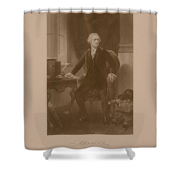 Alexander Hamilton Sitting At His Desk Shower Curtain by War Is Hell Store