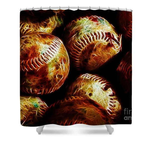 All American Pastime - A Pile of Fastballs - Electric Art Shower Curtain by Wingsdomain Art and Photography