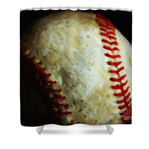 All American Pastime - Baseball - Painterly Shower Curtain by Wingsdomain Art and Photography