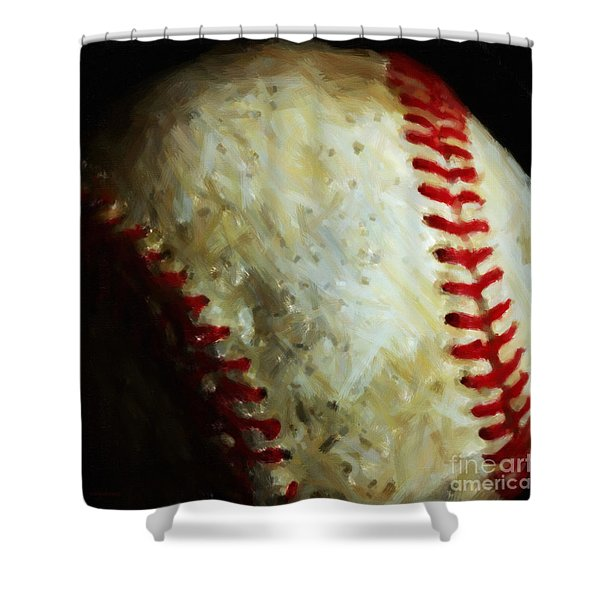 All American Pastime - Baseball - Square - Painterly Shower Curtain by Wingsdomain Art and Photography