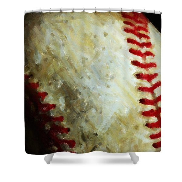 All American Pastime - Baseball - Vertical Cut - Painterly Shower Curtain by Wingsdomain Art and Photography