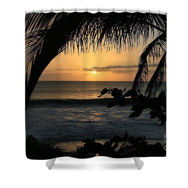 Aloha Aina the Beloved Land - Sunset Kamaole Beach Kihei Maui Hawaii Shower Curtain by Sharon Mau