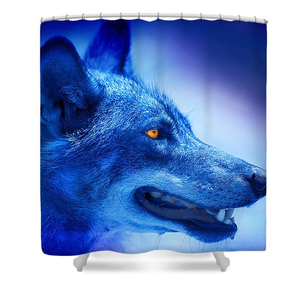 Alpha Wolf Shower Curtain by Mal Bray