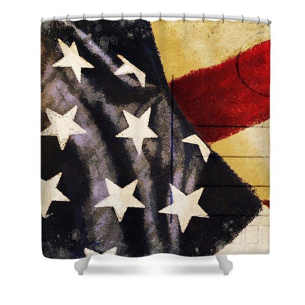America flag pattern postcard Shower Curtain by Setsiri Silapasuwanchai