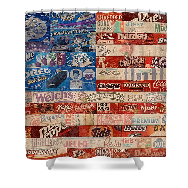 American Flag - Made From Vintage Recycled Pop Culture USA Paper Product Wrappers Shower Curtain by Design Turnpike