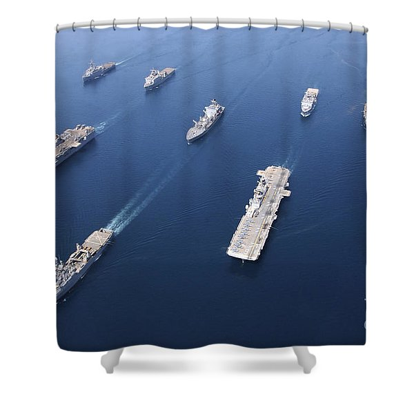 Amphibious Task Force-west In Formation Shower Curtain by Stocktrek Images