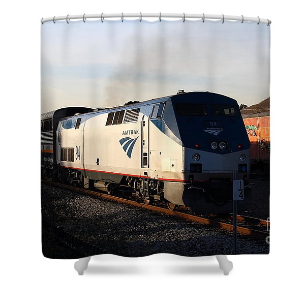 Amtrak Trains at The Niles Canyon Railway In Historic Niles District California . 7D10856 Shower Curtain by Wingsdomain Art and Photography