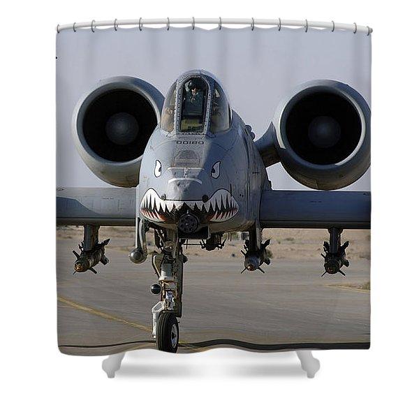 An A-10 Thunderbolt II Shower Curtain by Stocktrek Images