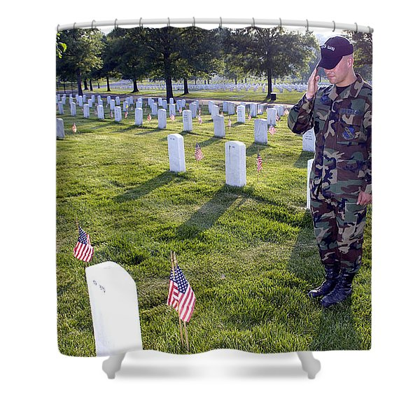 An Airman Renders Honors After Placing Shower Curtain by Stocktrek Images