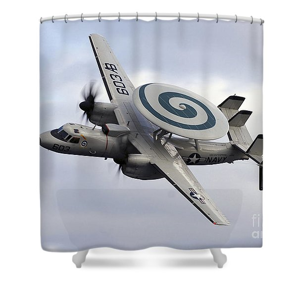 An E-2c Hawkeye Performs A Fly-by Shower Curtain by Stocktrek Images