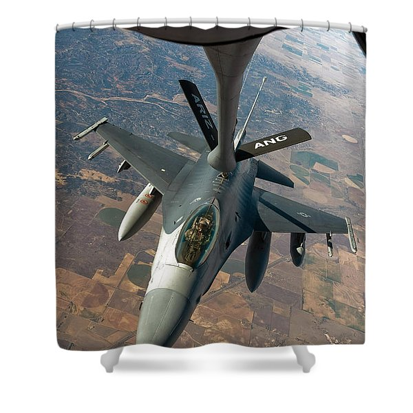 An F-16 Fighting Falcon Receiving Fuel Shower Curtain by Stocktrek Images