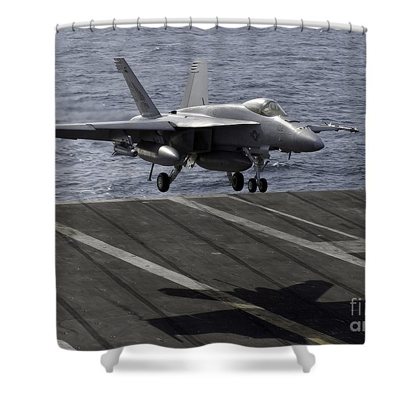 An Fa-18e Super Hornet Prepares To Land Shower Curtain by Stocktrek Images