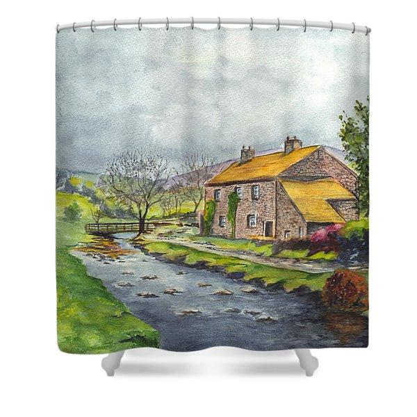 An Old Stone Cottage in Great Britain Shower Curtain by Carol Wisniewski