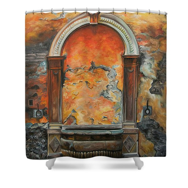 Ancient Italian Fountain Shower Curtain by Charlotte Blanchard