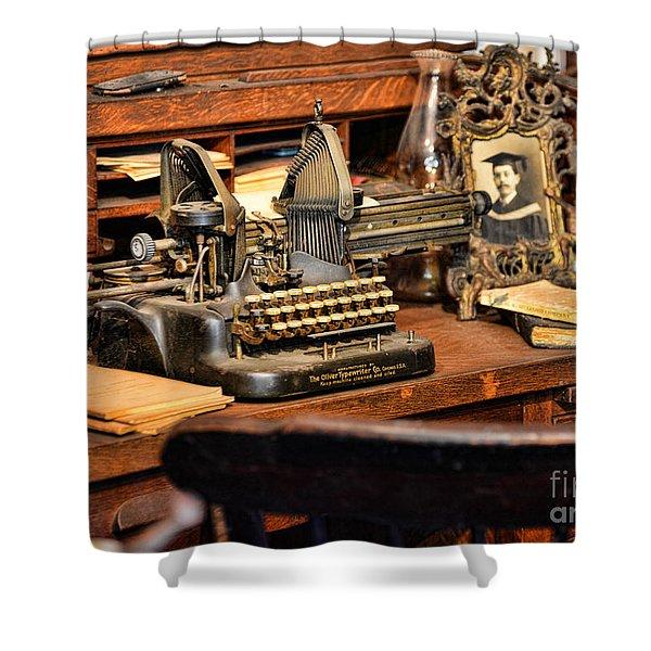 Antique Typewriter Shower Curtain by Paul Ward