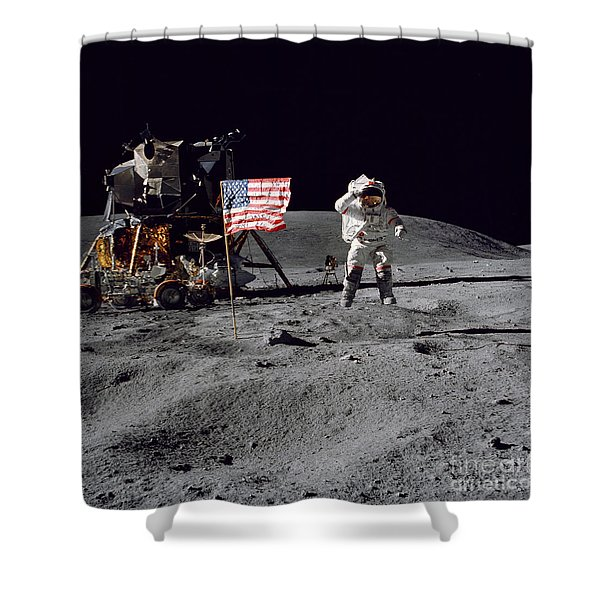 Apollo 16 Astronaut Leaps Shower Curtain by Stocktrek Images